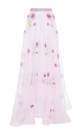 Medium luisa beccaria purple organza embroidered skirt with raffia details