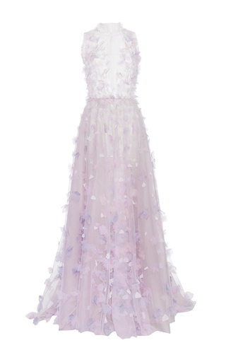 Medium luisa beccaria purple tulle embroidered gown with embroidered flowers