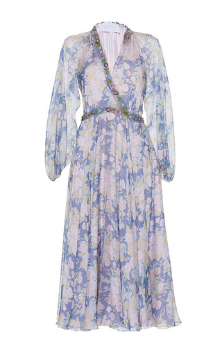 Medium luisa beccaria print chiffon dress with embroidered details