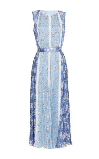 Medium luisa beccaria print chiffon printed plisse dress with lace inserts