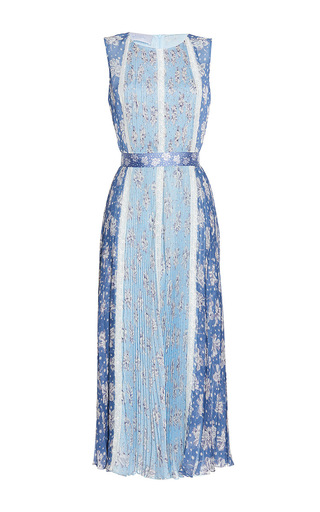 Medium luisa beccaria print chiffon printed plisse dress with lace inserts