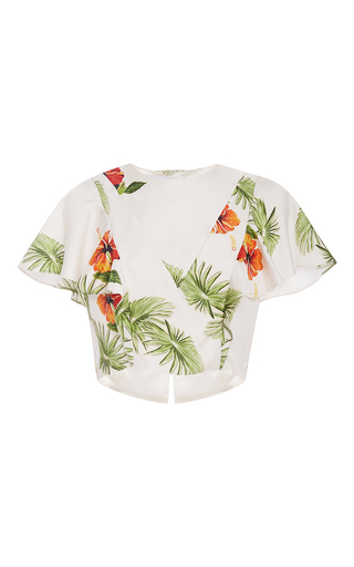 Medium christine alcalay print silk hibiscus print cropped blouse