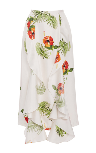 Medium christine alcalay print silk twill hibiscus ruffle skirt