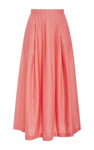 Medium christine alcalay pink solid cotton oxford skirt