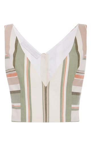 Medium christine alcalay green havana stripe cropped tank