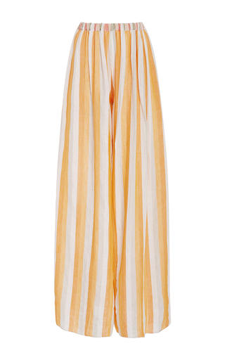 Medium christine alcalay orange cabana stripe wide leg pants