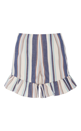 Medium christine alcalay blue havana stripe oxford ruffle shorts