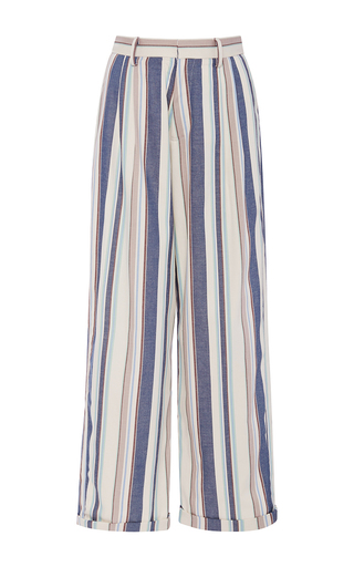 Medium christine alcalay blue havana stripe cropped pants