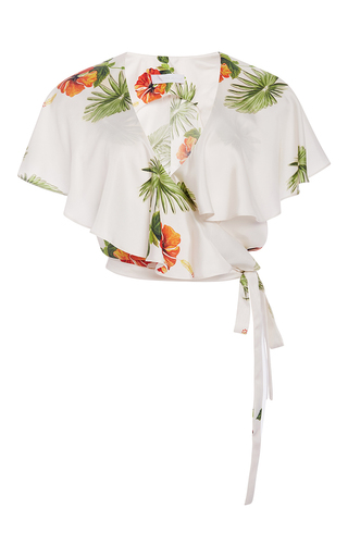 Medium christine alcalay print hibiscus cropped wrap blouse