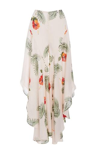 Medium christine alcalay white hibiscus ruffle flare pants