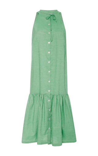 Medium christine alcalay green solid cotton oxford dress