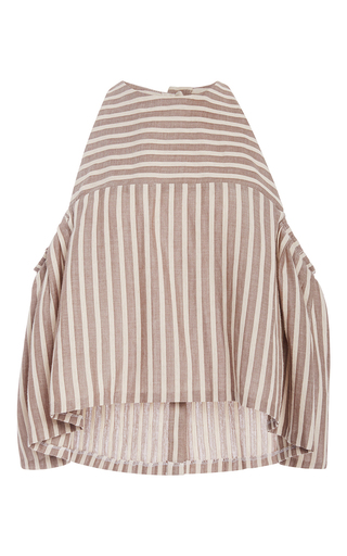 Medium christine alcalay stripe ice cream stripe cold shoulder blouse