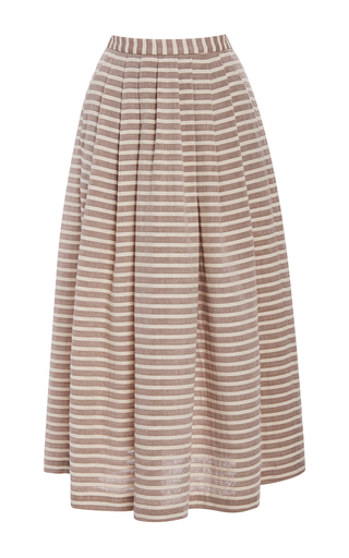 Medium christine alcalay brown ice cream stripe skirt