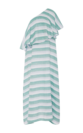 Medium christine alcalay green cabana stripe asymmetric dress