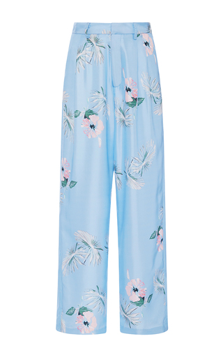 Medium christine alcalay blue silk twill hibiscus pants