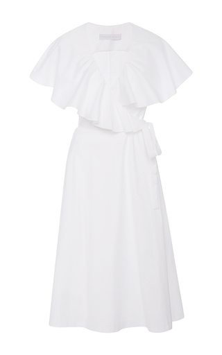 Medium christine alcalay white oxford ruffle wrap dress