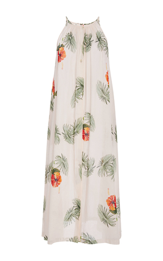 Medium christine alcalay print hibiscus button front dress