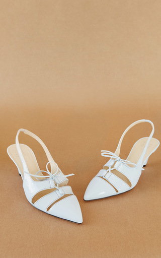 Medium trademark white anita patent sling back