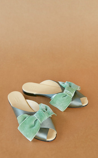 Medium trademark green madelaine pajama sandal with velvet bow