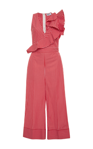 Medium msgm pink ruffle trimmed striped jumpsuit