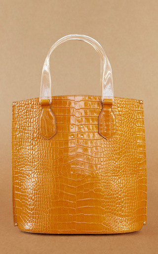 Medium trademark orange mini aubock shopper with resin handle