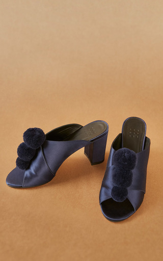 Medium trademark navy pom pom mule