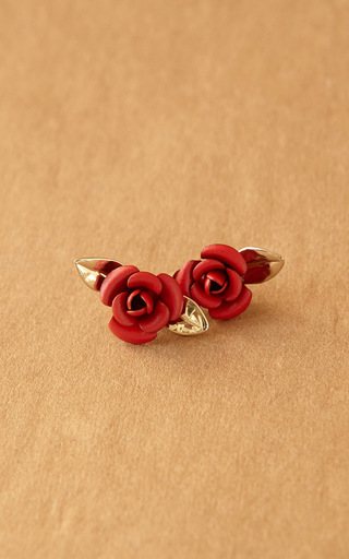 Medium trademark red rosebud earrings
