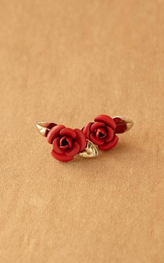 Medium trademark red rosebud earrings