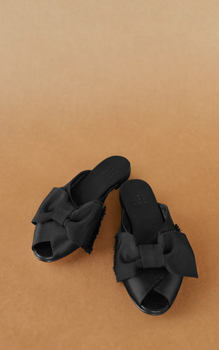 Medium trademark black madelaine pajama sandal with grosgrain bow