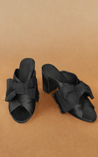 Medium trademark black madelaine mule with bow