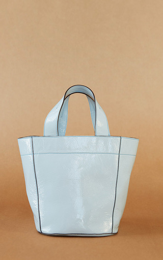 Medium trademark light blue simone patent tote