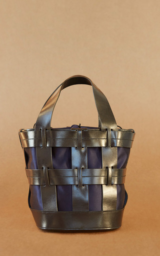 Medium trademark navy cooper cage tote 2