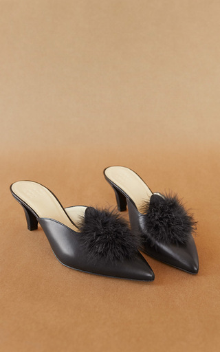 Medium trademark black suzanne mule with marabou