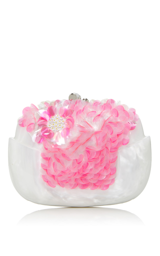 Medium delpozo pink sequin bloom clutch