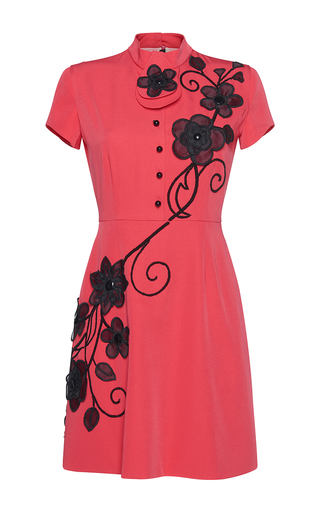 Medium gem red delfina organza flowers collar dress