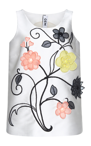 Medium gem white demetra organza flowers tank top