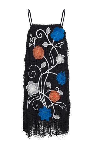 Medium gem black dionisia organza flowers fringe dress