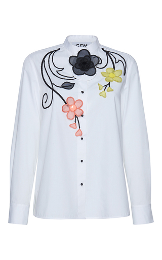 Medium gem white dirce organza flowers shirt