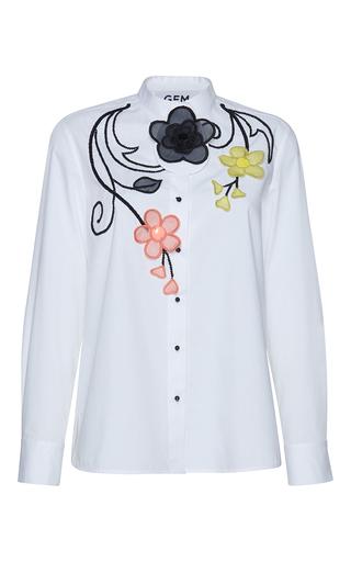 Medium gem white dirce organza flowers shirt