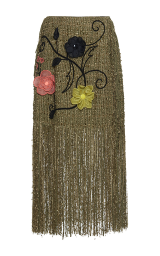 Medium gem khaki diana organza flowers fringe skirt