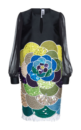 Medium gem black clivia placed flower long sleeves dress