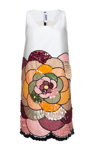 Medium gem white ciclamino placed flower sleeveless dress
