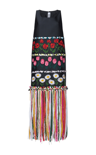 Medium gem black minuetto little flowers fringe sleeveless dress
