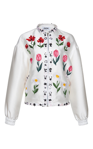 Medium gem white melodia little flowers bomber