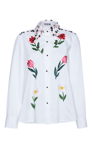 Medium gem white meriggio little flowers shirt