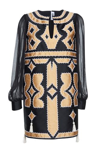 Medium gem black cardo patchwork long sleeves dress
