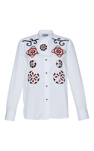 Medium gem white giosta embroidered arabesque shirt