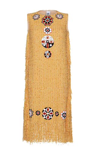 Medium gem yellow ghinea arabesque sleeveless fringe dress