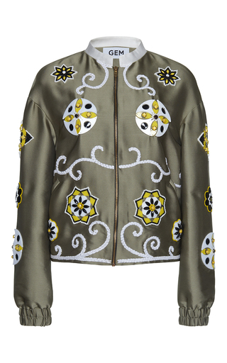 Medium gem green ginger arabesque bomber