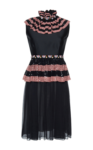 Medium gem black maggio ruches short dress